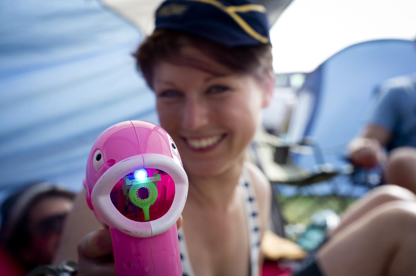 festival 2014 girl with water gun squirt gun