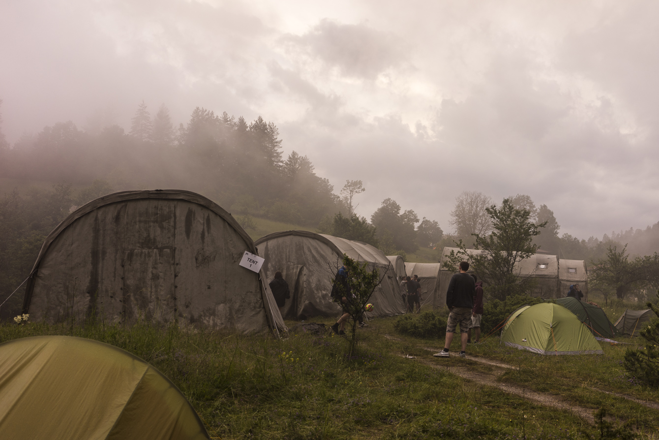tents in the fog at meadows in the mountains festival 2014