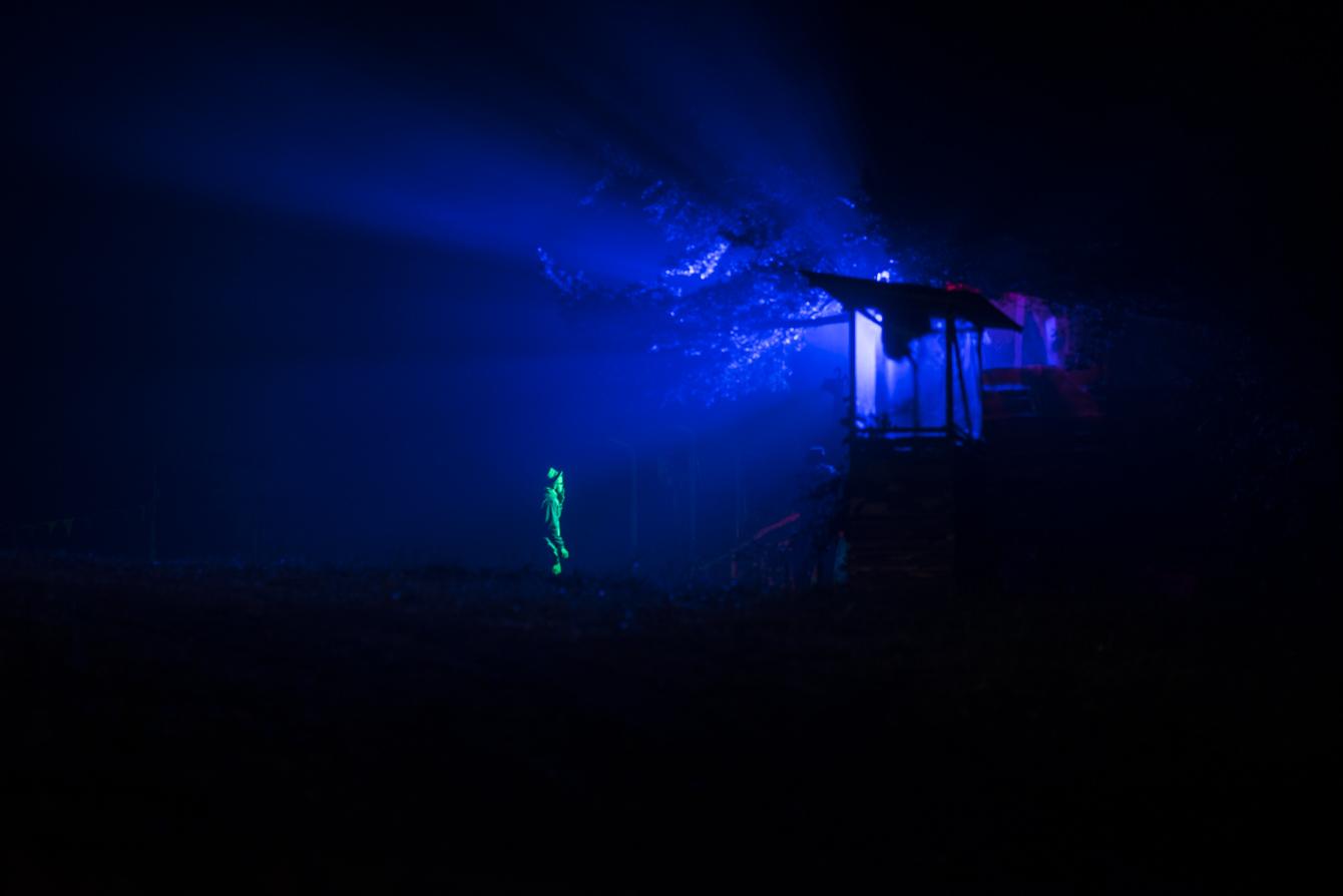 blue mood light at festival