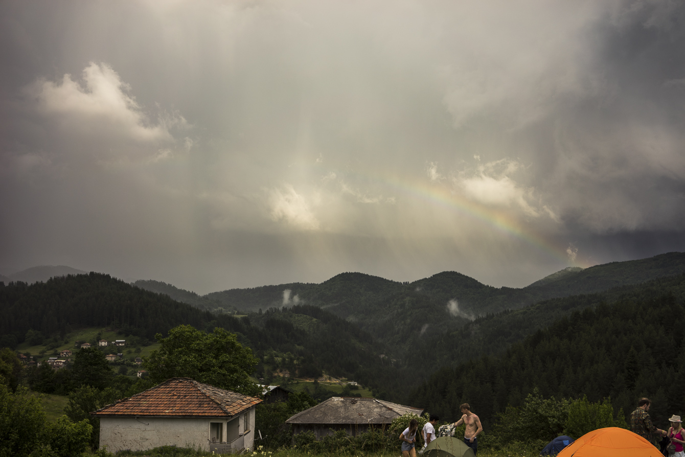 rainbow at meadows in the mountains festival
