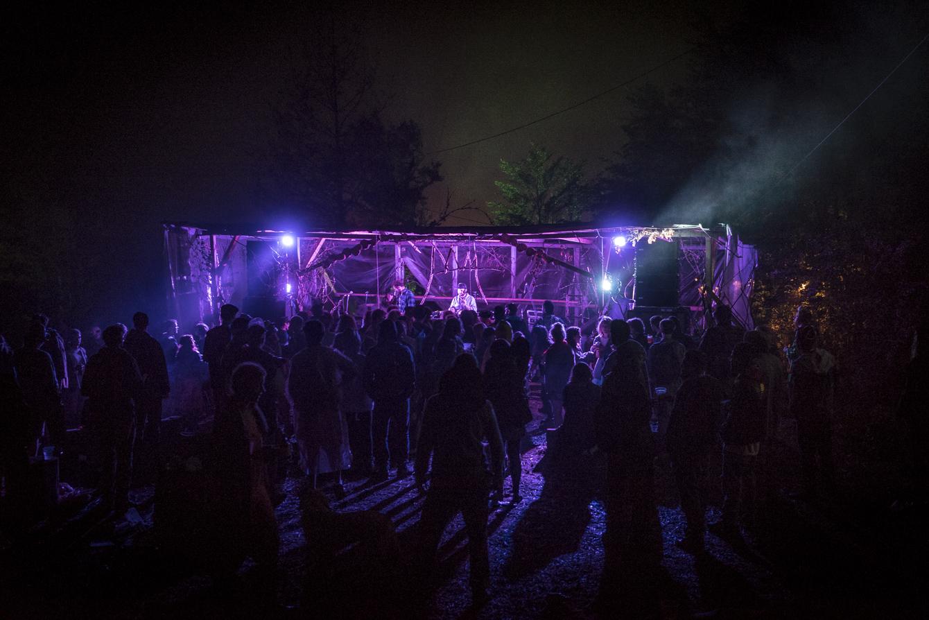 purple mood lights stage at festival