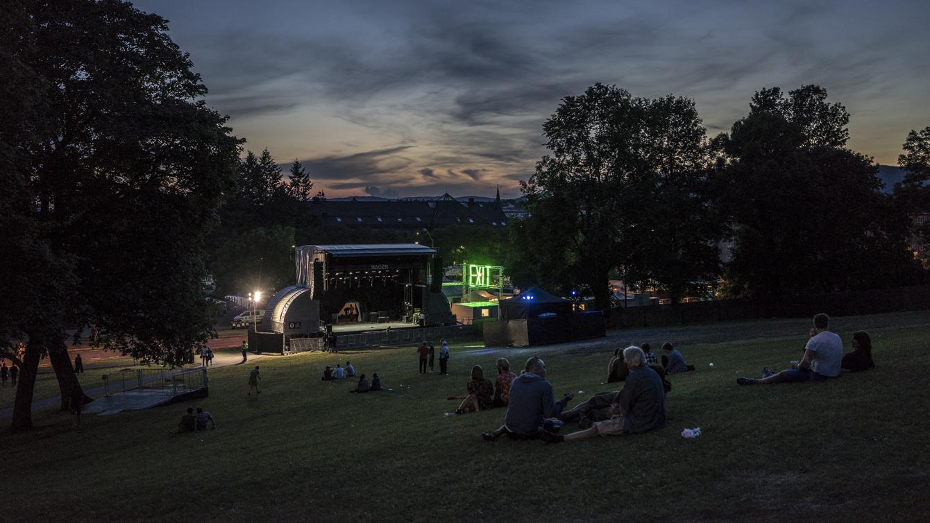festival stage after concert
